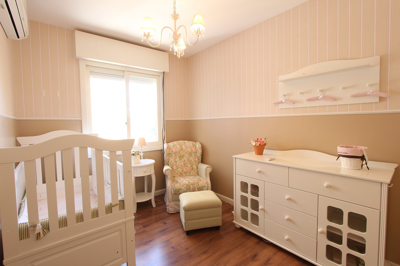 brown and peach painted nursery