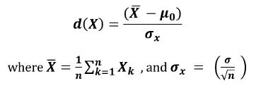 Standard score distance function