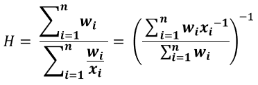 weighted harmonic mean